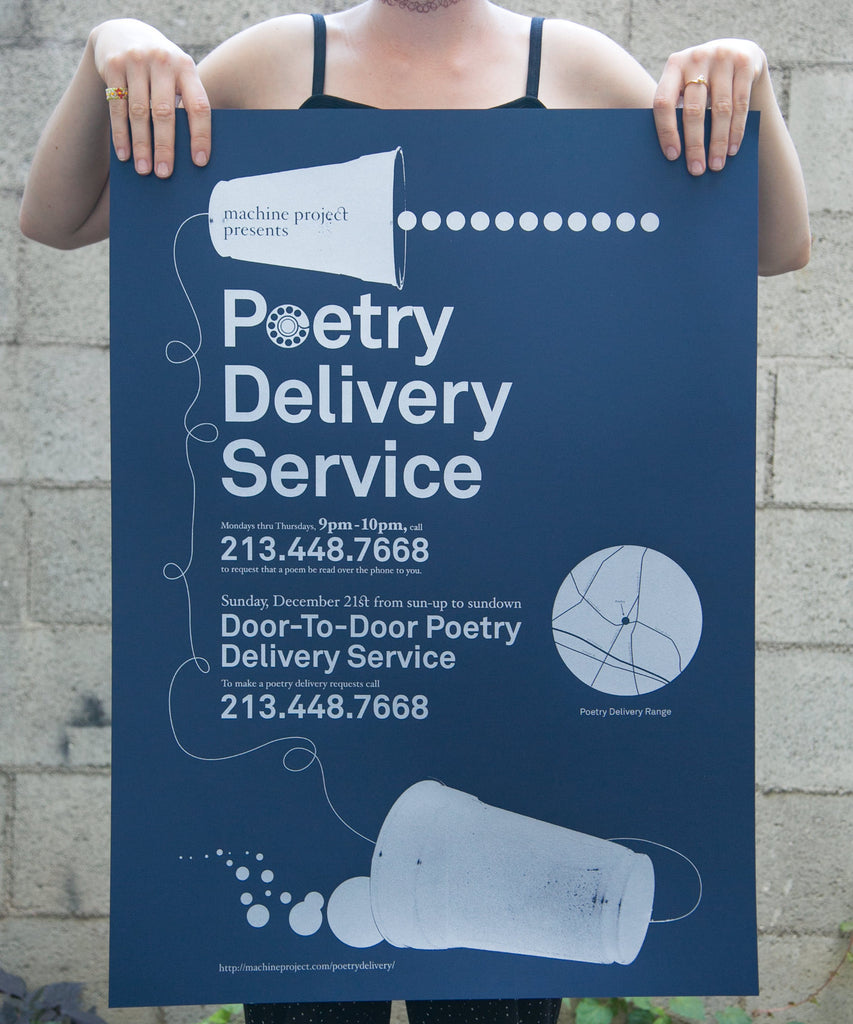 Poetry Delivery Service Poster - Navy & silver