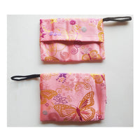 Face Mask Storage Bag, Mask Holder Pouch, Pink Japanese Flowers and Buterfly Pouch Hand Made in USA