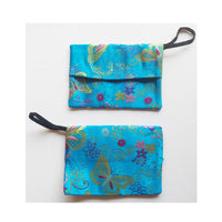 Face Mask Storage Bag, Mask Holder Pouch, Flowers and Butterfly Pouch Hand Made in USA