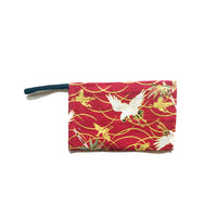 Face Mask Storage Bag, Mask Holder Pouch, Red Gold White Japanese Crane Pouch Hand Made in USA