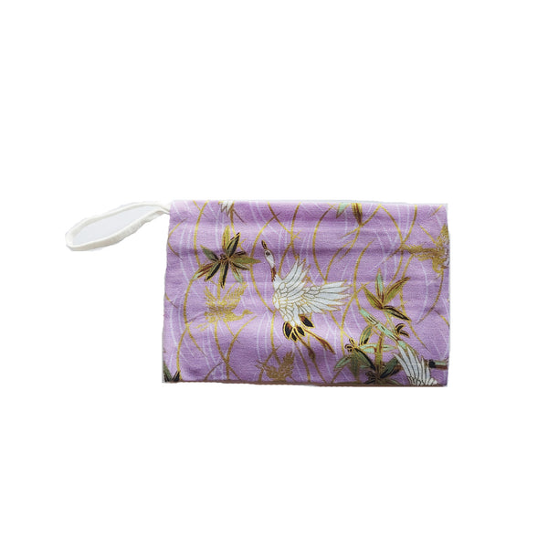 Purple Storage Pouch, Japanese Crane