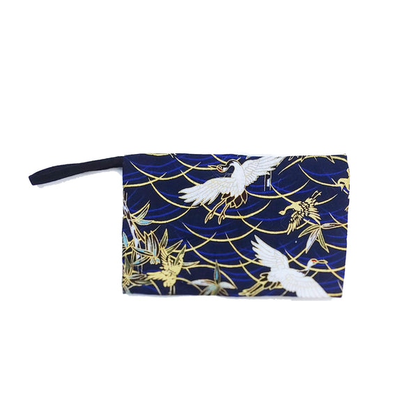 Blue Storage Pouch, Japanese Cranes