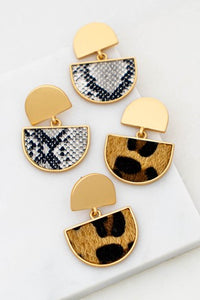 Half Moon Animal Print Earrings