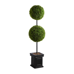 "Double Globe 48"" Artificial Boxwood Topiary"