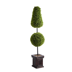 Lit Conical & Ball Boxwood Topiary