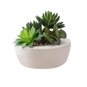 Artificial Lush Green Succulent Arrangement on White Background