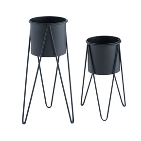 Mid Century Planter Set-Black