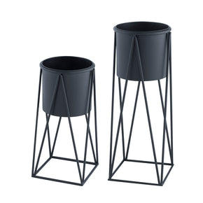 Geometric Planter Set-Black