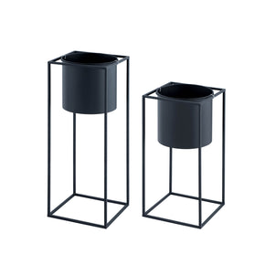 Geometric Cube Planter Set-Black