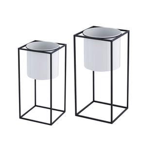 Geometric Cube Planter Set-Gray