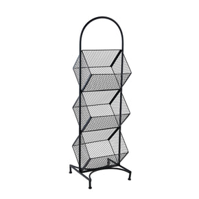 Black 3 Tier Tilted Wire Mesh Wire Basket on a White Background