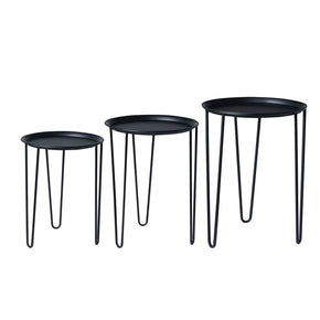 Mid Century Round Nesting Tables-Black
