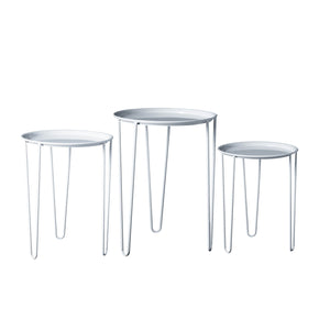 Mid Century Round Nesting Tables-White