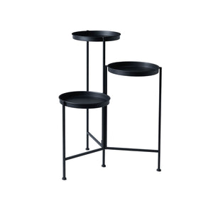 3 Tier Iron Plant Stand-Black