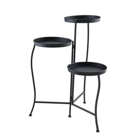 Curved Legged 3 Tier Plant Stand-Black