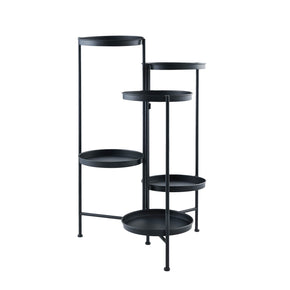 6 Tier Iron Plant Stand-Black