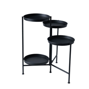 4 Tier Black Iron Plant Stand