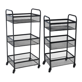 3 Tier Rolling Basket Set-Black