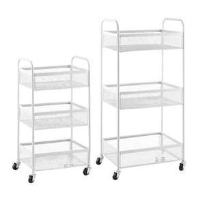 3 Tier Rolling Basket Set-White