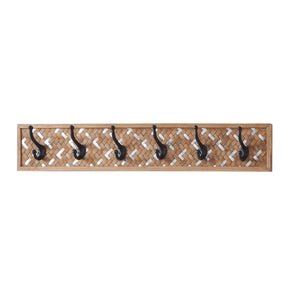 Woven Metal & Bamboo 6 Hook Wall Decor
