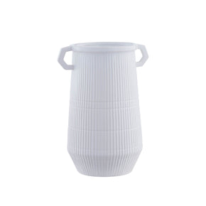 Dapper Deco White Double Handle Vase