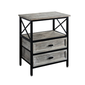 Industrial Double Drawer Side Table