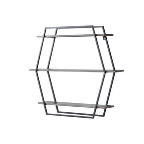 Large Hexagonal 3 Tier Wall Shelf - Gray