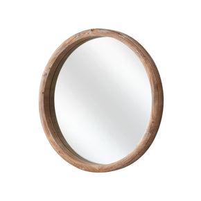 Rustic Wood Round Wall Mirror