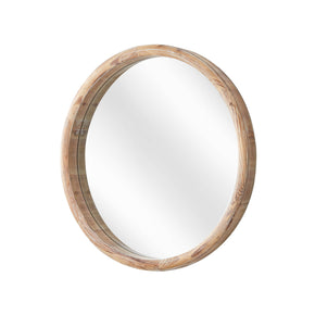 Light Rustic Wood Round Wall Mirror