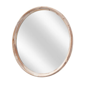 Grand Whitewash Round Wall Mirror