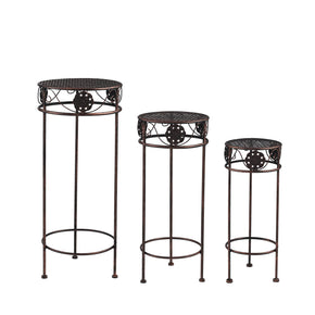 Round Medallion Nested Plant Stand Trio