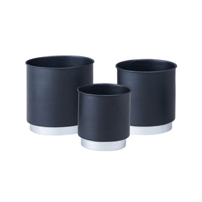 Black Planter Set With Silver Bottom