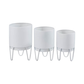 Set of Three White Plant Holders on a White Background