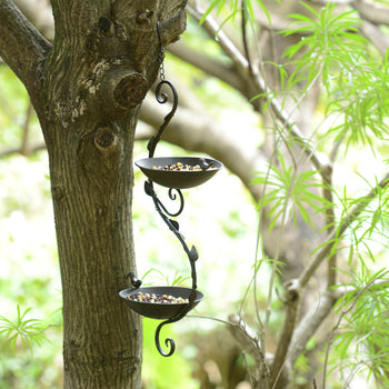 Hanging Vine Double Bird Feeder-Black