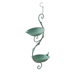 Hanging Vine Double Bird Feeder-Verdigris