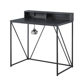 Black USB Desk with Cubby Shelf