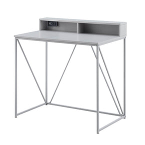 Gray USB Desk with Cubby Shelf