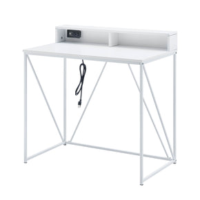 White USB Desk with Cubby Shelf