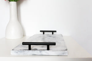 Chloe Serving Tray in Distressed White