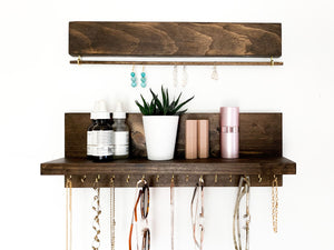Kyanna Jewelry Shelf with Amya Jewelry Bar in Rum