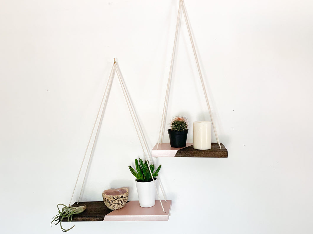 Kaia Hanging Shelves in Rum & Moscato