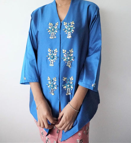 Kebaya Teratai by MEK (Defect) in Blue (XL)