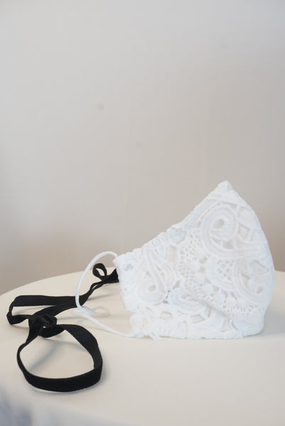 WHITE FULL LACE MASK