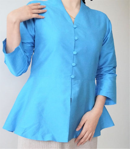 Peplum Top by MEK (Defect) in Light Blue (S)