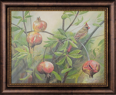 Female Cardinal and Pomegranates by Dianna Page