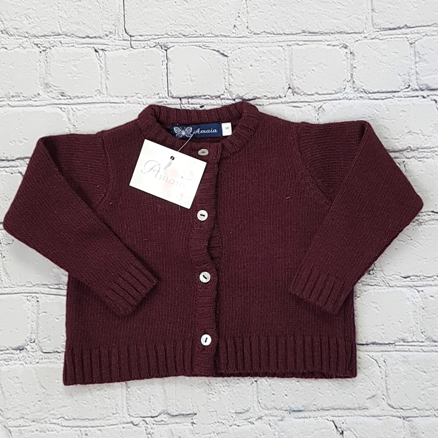 AMAIA outlet baby burgundi cardigan 6m and 1yo - FAMILY AFFAIRE