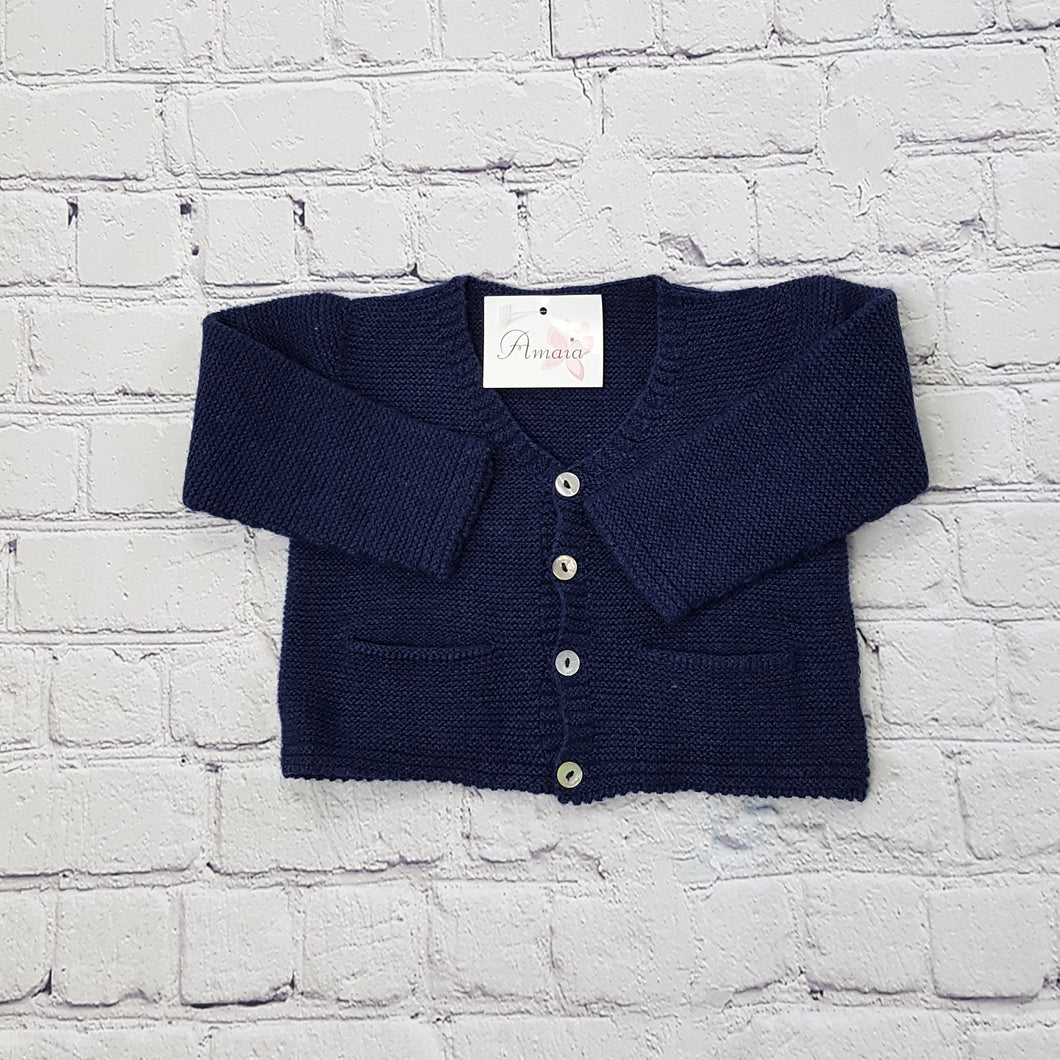 AMAIA outlet baby navy cardigan 6m and 12m - FAMILY AFFAIRE