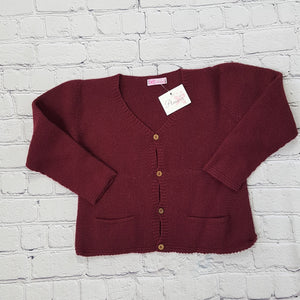 AMAIA outlet burgundy cardigan 6m 4yo baby boy girl - FAMILY AFFAIRE