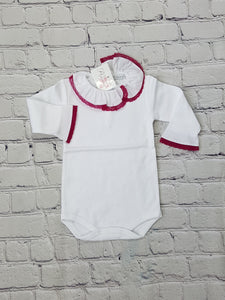 AMAIA outlet baby body with pink lace collar - FAMILY AFFAIRE
