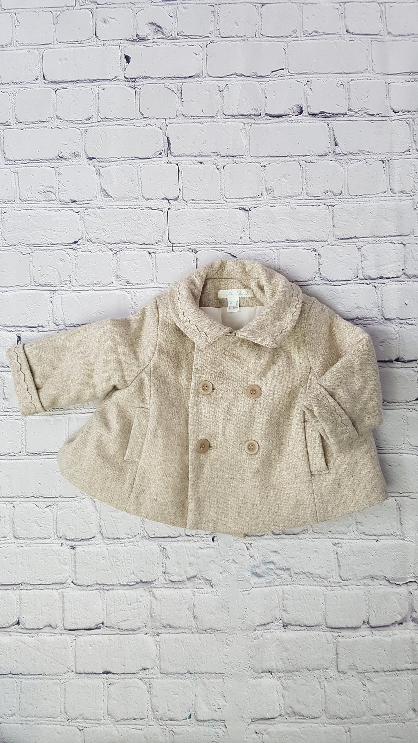 manteau beige en laine marie chantal bebe baby coat 3 months preloved